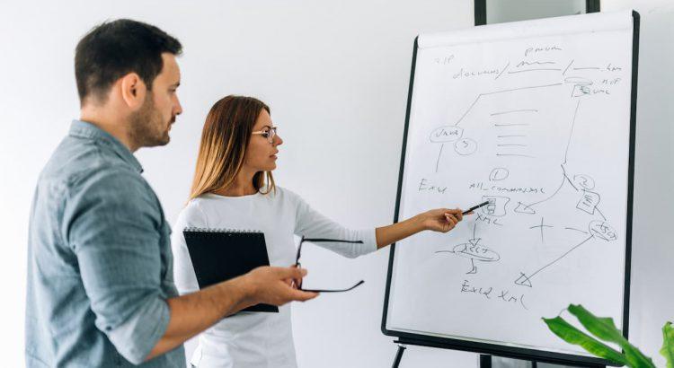 Homem e mulher trabalhando juntos com um quadro branco de planejamento