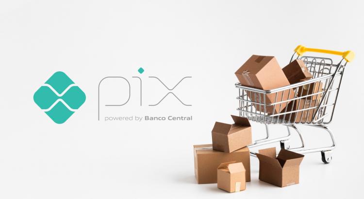 Logotipo do pix e ao lado um carrinho de compras com caixas de papelão